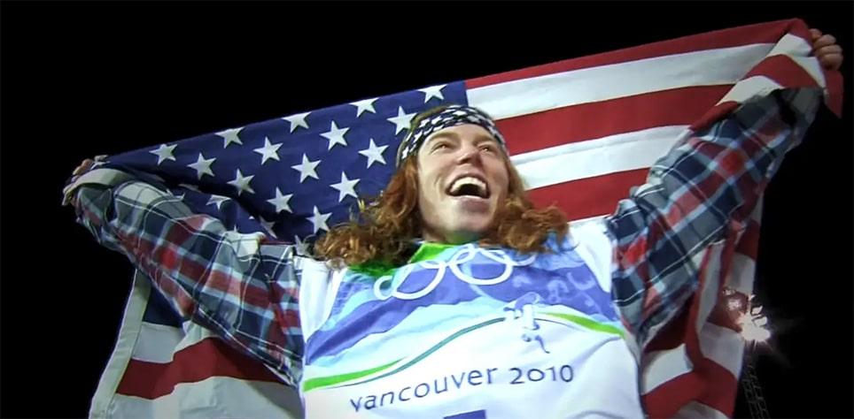 Shaun White holding American flag