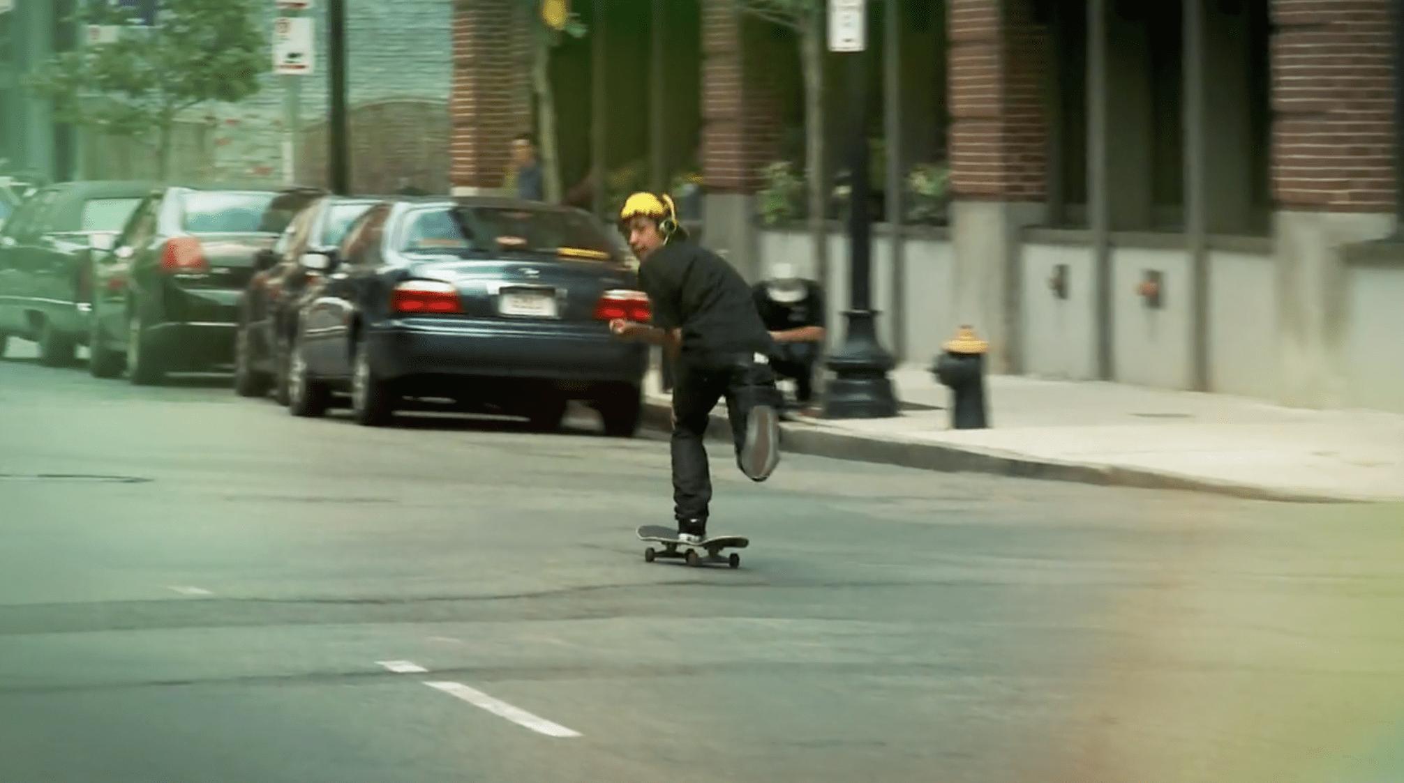 Skateboarder with Sony headphones